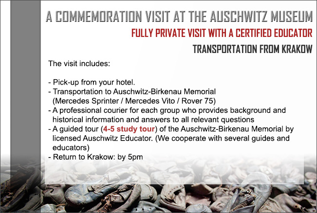 The visit includes: - tours that leave at 9am from the JCC (Jewish Comunity Centre) or   pick-up points at your hotel*. - Transportation to Auschwitz-Birkenau Memorial   (Mercedes Sprinter lux. version) - A professional courier for each group who provides background and  historical information and answers to all relevant questions- A guided tour (4-5 study tour) of the Auschwitz-Birkenau Memorial by   licensed Auschwitz Educator. (We cooperate with several guides and   educators)- Return to Krakow: by 5pm